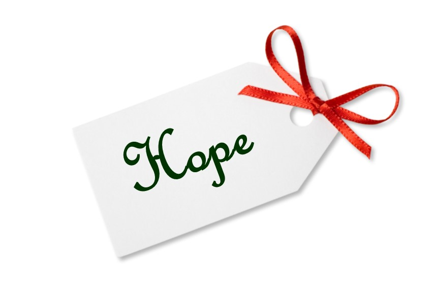 Gift tag that says Hope